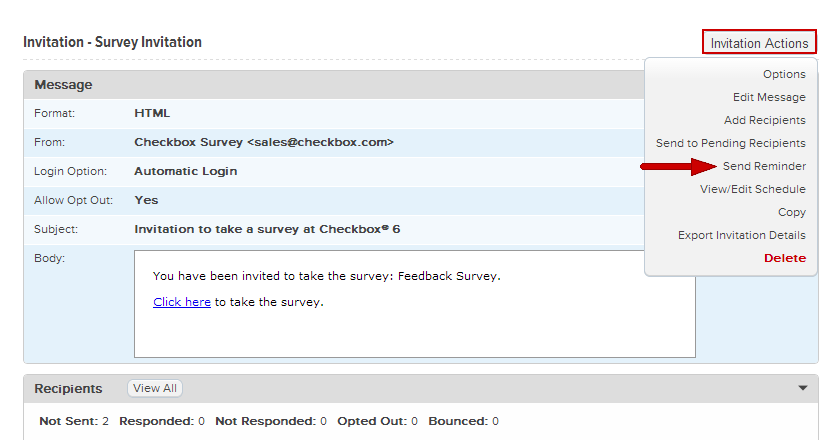 How To Schedule Invitation Reminders Checkbox Survey Developer Center
