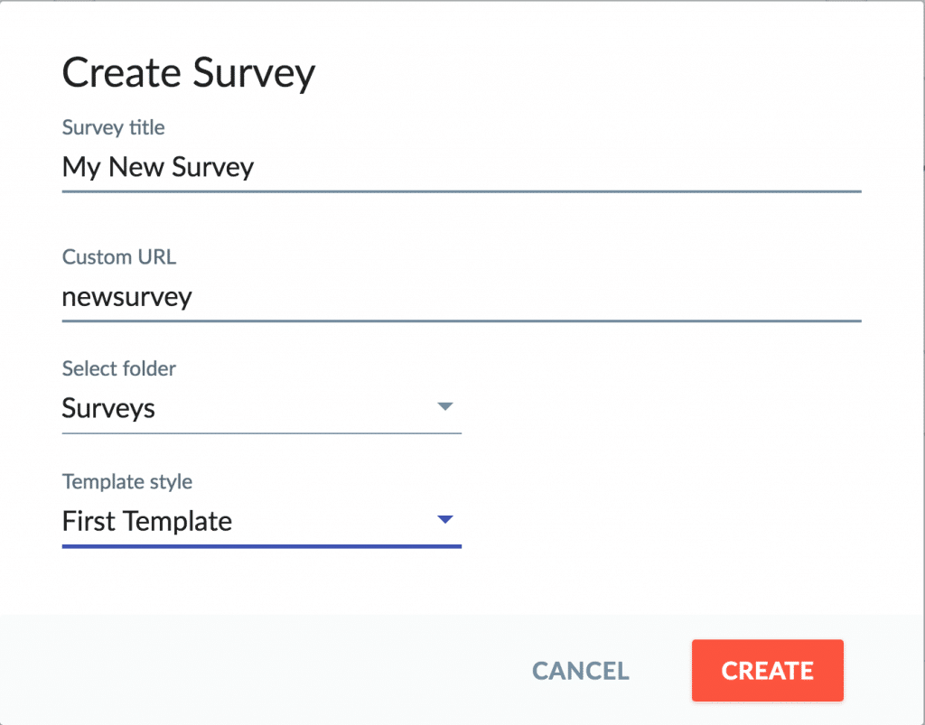 Survey name and info