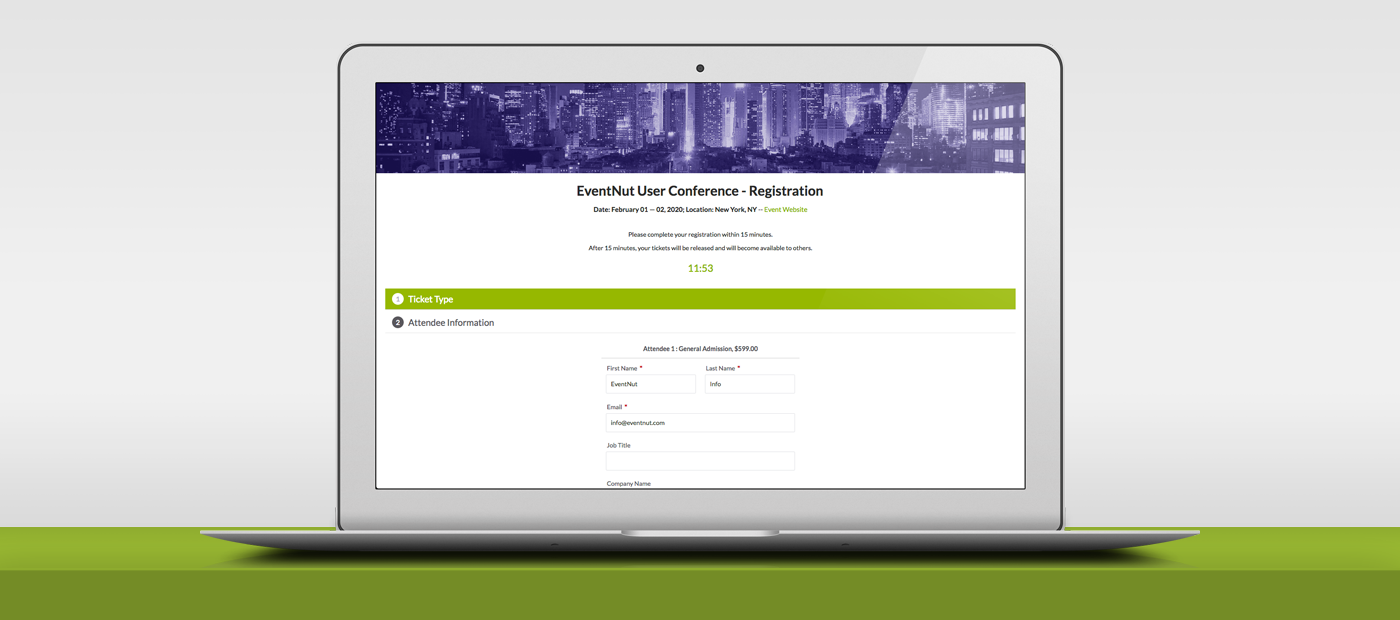 event software screenshot create registration page