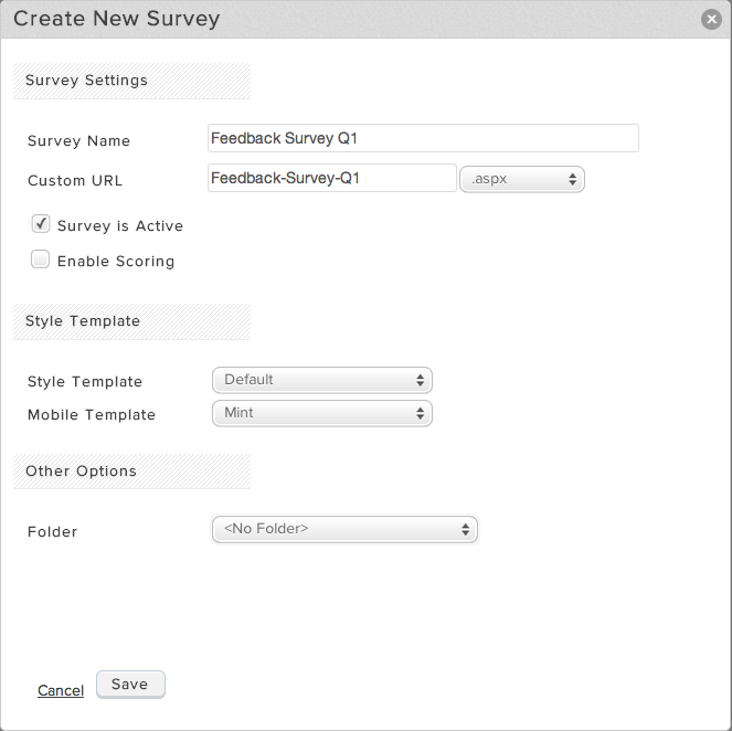 Create New Survey